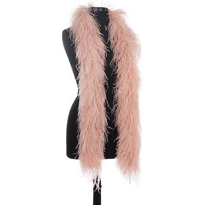 Blush 4 Ply Ultra Ostrich Feather Boas - Scarf - 6 Feet Long - Halloween Costume