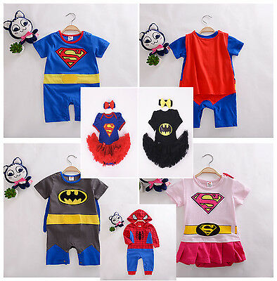 BOYS GIRLS BABY SUPER HERO ROMPER SUIT Jumpsuit PARTY outfit FANCY DRESS COSTUME