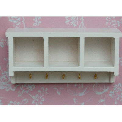 Doll House Miniature Kitchen White Wooden Wall Shelf Rack Cabinet with Hooks