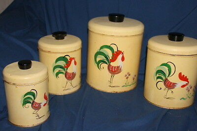 Vintage RANSBURG KITCHEN CANISTER SET ROOSTERS HAND PAINTED