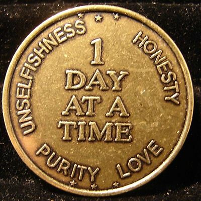 AA Bronze One Day At A Time  Sobriety Chip Coin Token Medallion