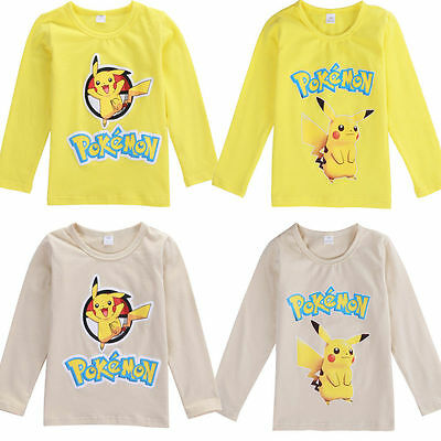 Pokemon GO Child Kids Baby Boys Girls Pikachu Cotton T-shirt Top Clothes 2-8Year