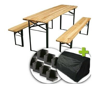 wooden folding table bench set picnic outdoor patio beer party garden  camping uk