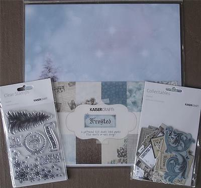 """Bulk Lot Kit ~ FROSTED ~ Christmas Papers Stickers Stamp Set Die Cuts 12"""" x 12"""""""