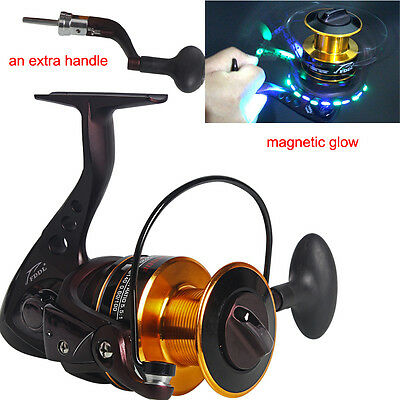 Magnetic Glow Fishing Reel with an Extra Handle Spinning Fishing Tackle Reels