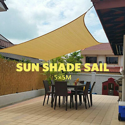 OUTT Large 5x5m Outdoor Sun Shade Sail Canopy Square 5x5m HDPE Sand Cloth