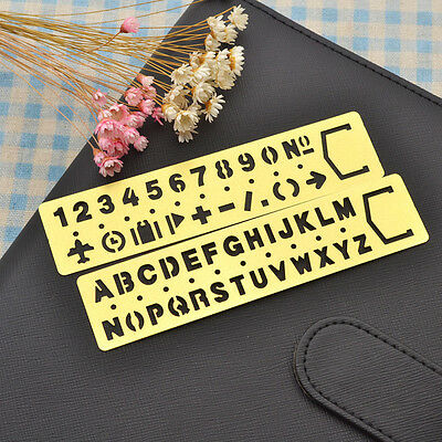 Brass Number Letters Template Ruler Drafting Stencil Drawing Tool Kid Craft