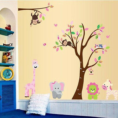 Monkey Lion Tree Removable Vinyl Wall Decal Sticker Kids Room Home Decor
