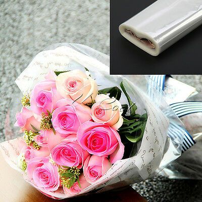 UK 20M Cellophane Roll Film Plain Clear Thick Florist Hamper Gift Wrap Craft