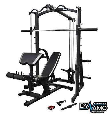 HOME GYM SMITH MACHINE with FULLY ADJUSTABLE WEIGHT BENCH & ATTACHMENTS