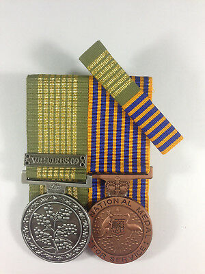 Set of 2 Replica Court Mounted Long Service National Emergency Medal QLD 10-11