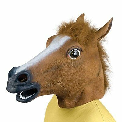 Cosplay Halloween Horse Head Mask Latex Animal ZOO Party Costume Prop Toys BY