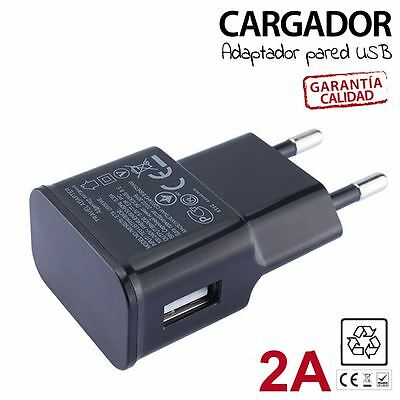 Cargador de Red HTC Desire Z de 2 A USB Adaptador Tablet Pared Phone Casa NEGRO
