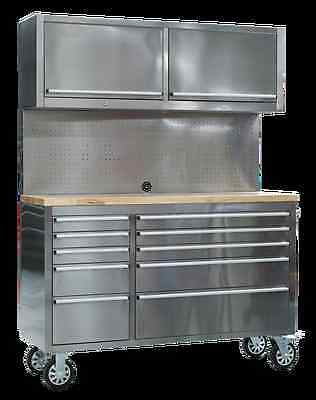 Sealey Mobile Stainless Steel Tool Cabinet 10 Drawer with BackboardS AP5520SS