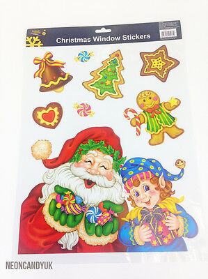 Christmas Window Stickers - Festive Party Decoration Xmas Santa Elf Gingerbread