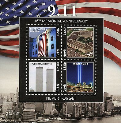 Nevis 2016 MNH 11th September 15th Memorial 4v M/S New York Architecture Stamps