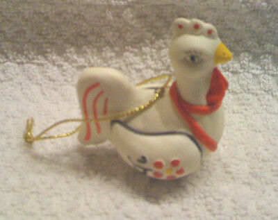 2 Festive Chicken Christmas Ornaments - New