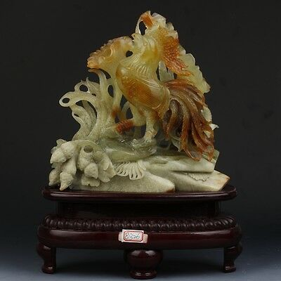 Chinese exquisite natural Xiuyan jade hand-carved cock statue