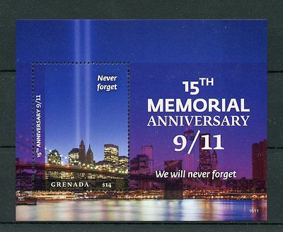 Grenada 2016 MNH 11th September 15th Memorial 1v SS New York Architecture Stamp