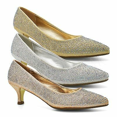 New Womens Low Kitten Heel Court Shoes Ladies Diamante Bridal Party Prom Sandals