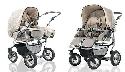Pram Twin Child Stroller Double Pushchair NEW 58 Colors Swivel Wheels
