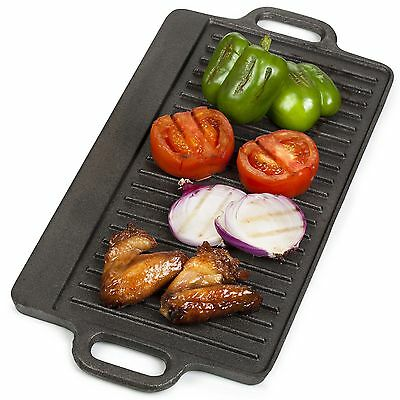 VonShef Non-Stick Cast Iron Large Reversible Smooth Side Griddle Pan