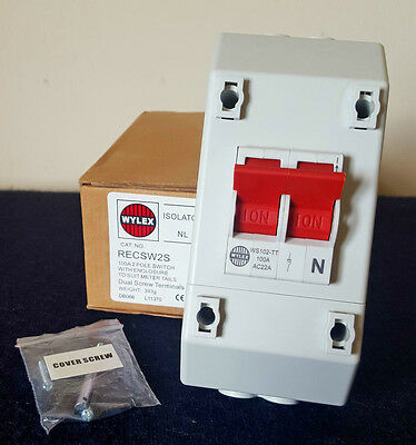 wylex isolator 100a 2 pole switch with enclosure meter tails recsw2s dual