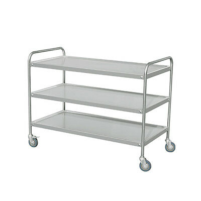 """EQ Silver Stainless Steel Utility Stand Service Trolly Cart 3 Shelve 48x24x37.6"""""""