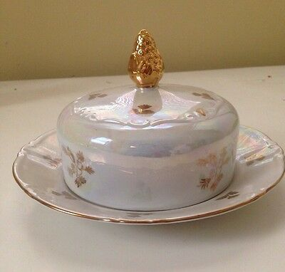 Kahla Fine China Butter Dish Plate Gold Trim GDR Antique Vintage Madonna