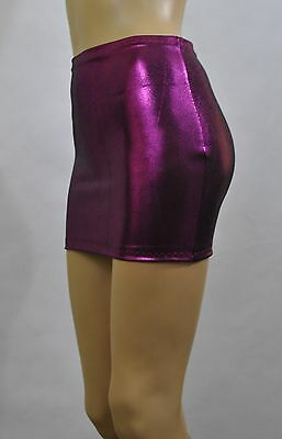 1a8981fd57c3f4 Micro MINI SKIRT Purple Pink Metallic Lycra Short Wet Look Shiny Sexy Party  W429