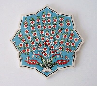 Turkish Cini Floral Ottoman Design Ceramic Trivet Hot Plate Wall Tile Xmas Gift