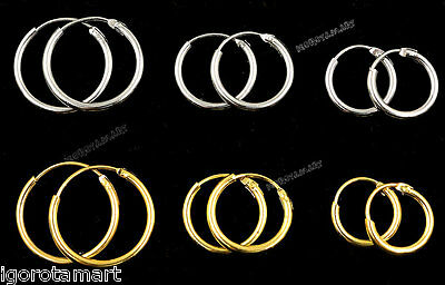 1 Pair of Solid Silver/ 9ct Gold Plated Hoop Silver Sleeper Earrings with Hinges