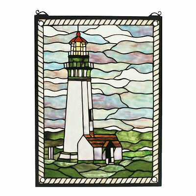 "Yaquina Head Lighthouse Meyda Tiffany 15"" x 20"" Stained Glass Window"