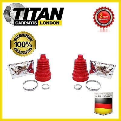 2x Universal CV Joint Boot Red Silicone Kit Gaiter With Grease And Clamps New