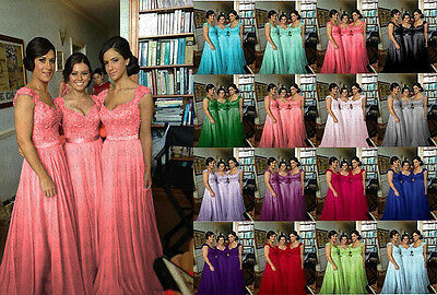 Long Lace Evening Formal Party Ball Gown Prom Bridesmaid Dress Size 6~22 New