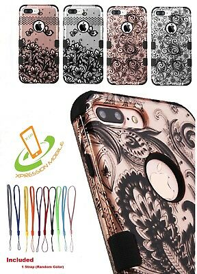 Damask Hybrid ShockProof Protector Case Cover +Strap For Apple iPhone 7 / 8 Plus