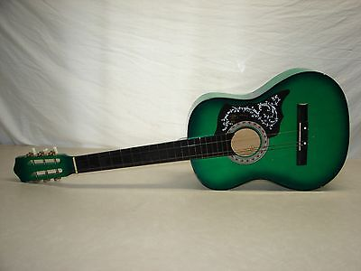 Weird Vintage GREEN Acoustic Guitar Unusual Plastic Peg Tuner Keys WALL ART?