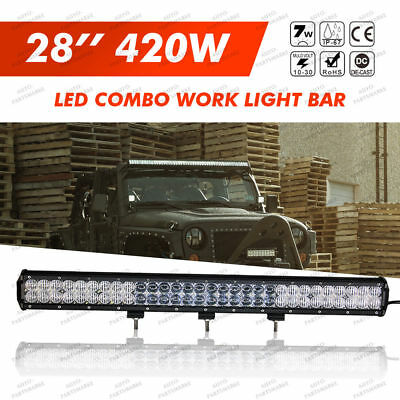 "Xmas!5D 28"" 420W LED Combo Work Light Bar Offroad Driving Lamp 4WD+WIRING KIT"