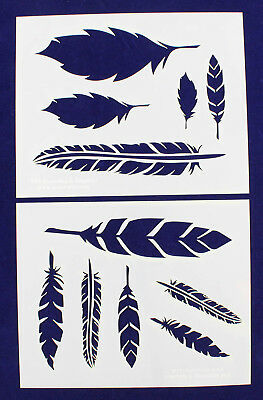 Feather Stencils 2 Piece Stencil Set Mylar 14 Mil Painting Craftstemplate