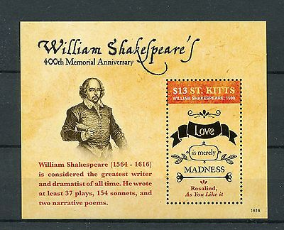 St Kitts 2016 MNH William Shakespeare 400th Memorial Anniv 1v S/S Stamps