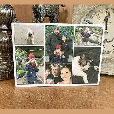 "Personalised Collage Photo Block Wooden 6x4"" or 7x5"" Picture Frame Any Image"