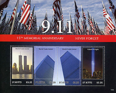 St Kitts 2016 MNH 11th September 15th Mem 4v M/S New York Architecture Stamps