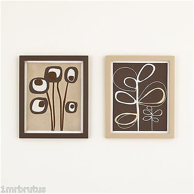 2-Pc CoCaLo Pewter Wall Art Girl's Neutral Nursery Decor Shabby Chic Brown Beige