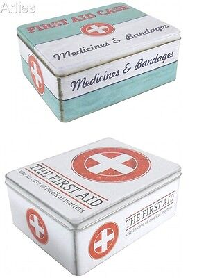 Vintage / Retro First Aid Box Storage Medical Case Tin Lid Container Medicine