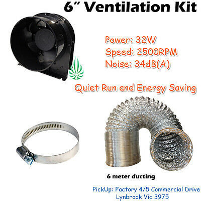 6in Hydroponics Ventilation Kit Exhaust Fan Axial Extractor  With Ducting Clamp