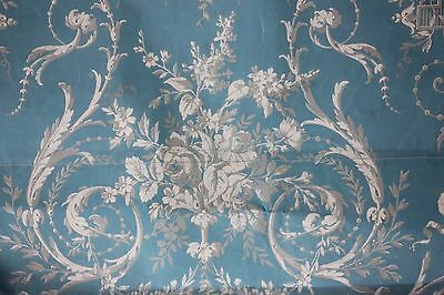 Antique French Hand Painted Textile Design~Blue Floral & Scrolls~