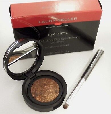 Laura Geller Bewitching Bronze Eye Rimz Baked Wet/Dry Shadow/Liner +Brush Boxed