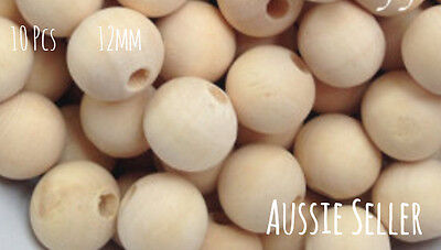 10x Natural Wood 12mm round beads unfinished wooden raw teething DIY macrame