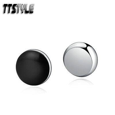 TTstyle 8mm Stainless Steel Black Round Magnet Ear Earrings Single/A Pair