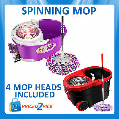 360 Degree Stainless Steel Spinning Mop Spin Dry Cleaning Bucket w/ 4 Mop Heads